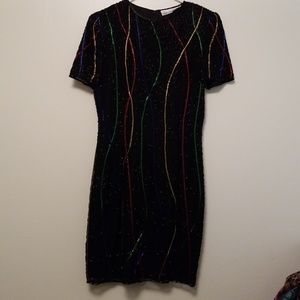 Retro Beaded Sheath Dress